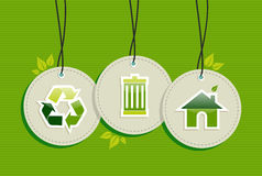 Hanging Green Environment sign icons labels set. Ecologic recycling design elements circle labels set background.  Vector file layered for easy manipulation and Stock Photography