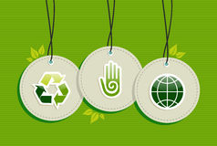 Hanging green recycle planet earth icons set. Green environment design elements circle symbols set background.  Vector file layered for easy manipulation and Royalty Free Stock Images