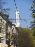 Hanging cables for street elumination in Kaunas. stock photo