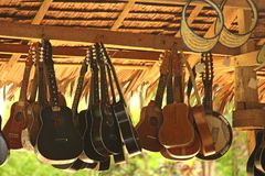 Hanging Guitars Stock Photo