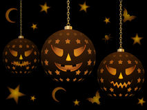 Hanging halloween lanterns Stock Photos