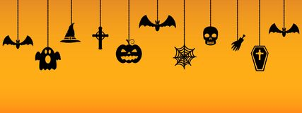 Hanging Halloween ornaments. Vector illustration Stock Photos