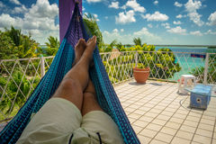 Hanging in the Hammock. Hanging in hammock with great view, mexico bacalar Stock Image