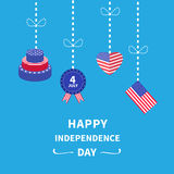 Hanging heart, flag, cake,  Star and strip Happy independence day United states of America. 4th of July. Flat design Stock Photos