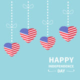 Hanging heart flags Star and strip Happy Stock Image