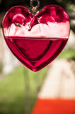 Hanging Heart of Glass Stock Photography