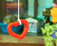 Hanging heart. In the garden stock photo