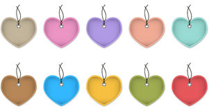 Hanging heart labels Royalty Free Stock Image