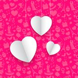 Hanging Heart in Seamless Love Background. Illustration of hanging paper heart on seamless love paatern background Royalty Free Stock Images