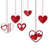 Hanging hearts background Stock Photos