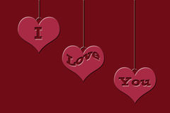 Hanging Hearts With I Love You Stock Photo