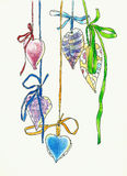 Hanging hearts shape decoration drawing. Hanging hearts shape decoration pencil drawing Stock Photo