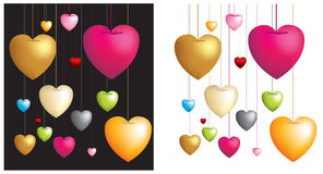 Hanging hearts on strings Royalty Free Stock Photo