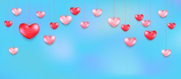 Hanging Hearts. Valentines Day Greeting Card Design In 3d Style On Sky Background. Royalty Free Stock Photo