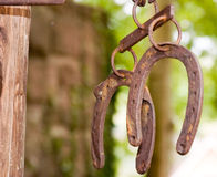 Hanging horseshoes. Horseshoes hangs in a blacksmith shop and swings in the wind in the country stock photography