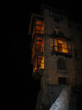 Hanging houses in Cuenca at night, Castilla la Mancha, Spain Royalty Free Stock Photos
