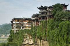 Hanging houses in Furong (Hibiscus) ancient villag Stock Photography