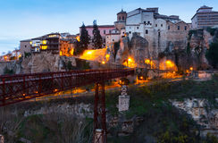 Hanging houses on rocks in early morning. Cuenca Royalty Free Stock Image