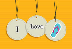Hanging i love summer sign icons set Stock Image