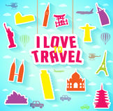 Hanging I Love to Travel Text with Iconic Landmarks. Vector Illustration Stock Image