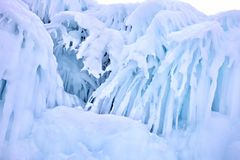 Hanging Icicle on Olkhon island in frozen Baikal lake in Siberia,Russia during winter time royalty free stock images