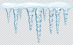 Hanging icicles with snow. Hanging translucent icicles with snow in blue colors on transparent background. Transparency only in vector file Stock Photos