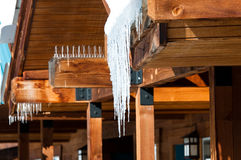Icycles hanging off cedar roof Stock Images
