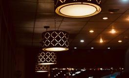 Hanging interior restaurant lights unique stock photo. The hanging interior lights lamps object of a restaurant food court unique stock photograph royalty free stock photos