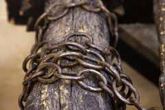 Hanging iron chains. Union and strength stock photography