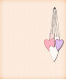 Hanging on an iron nail hearts. Five hearts hanging on an iron nail postcard royalty free illustration