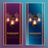 Hanging islamic lamps ramadan kareem banner design. Vector vector illustration