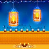 Hanging kandil in Diwali night. Illustration of hanging kandil in Diwali night Royalty Free Stock Photos