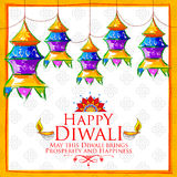 Hanging kandil on happy Diwali Holiday background for light festival of India Royalty Free Stock Photo