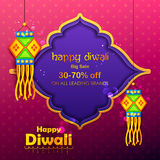 Hanging kandil lamp and diya for Diwali decoration Sale promotion advertisement. Illustration of hanging kandil lamp on Diwali decoration Sale promotion royalty free illustration