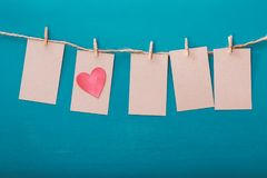 Hanging label tags with heart Royalty Free Stock Photos