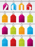 Hanging labels 2015 calendar design. 2015 calendar design with colorful hanging labels Stock Image
