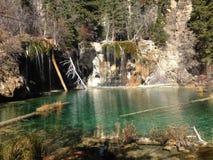 Hanging lake falls Colorado stock photos
