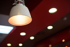 Hanging lamp interior in restaurant Stock Photos