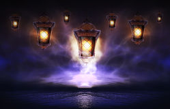 Hanging lamp with magic abstract background royalty free illustration