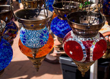 Hanging Lamps. Colorful hanging middle eastern style lamps at a marketplace Stock Image