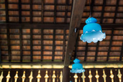 Hanging lantern and clay tiles roof Royalty Free Stock Images