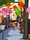 Hanging lantern decorated city of China Royalty Free Stock Photos
