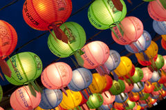 Hanging lanterns for celebrating Buddhas birthday Royalty Free Stock Photography
