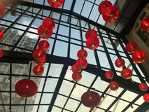 Hanging lanterns deco in the mall stock photo