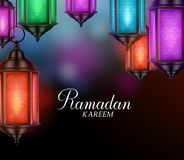 Hanging Lanterns or Fanous in Background with Ramadan Kareem. Hanging Lanterns or Fanous in a Dark Glowing Background with Ramadan Kareem Greetings. 3D Realistic Royalty Free Stock Photo