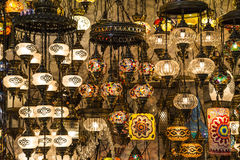 Hanging lanterns inside the Grand Bazaar in Istanbul Stock Photos