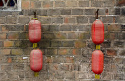 Hanging the lanterns on the wall at Fenghuang Ancient Town in Hunan, China Royalty Free Stock Images