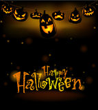 The hanging laughing Halloween lanterns Royalty Free Stock Photography