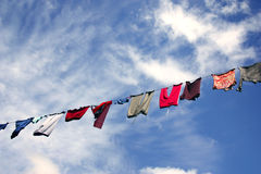 Hanging laundry against beautiful sky Royalty Free Stock Photography