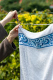 Hanging laundry outdoor Royalty Free Stock Photos